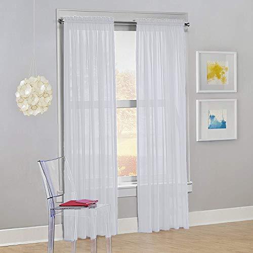 "Decotex Set of 2 Sheer Voile Transparent Window Panel Curtain Drapes (54"" W X 84"" L, White)"