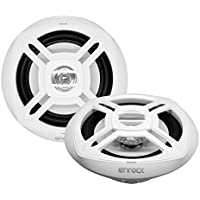 Enrock EKMR1672W - 6-1/2 Inch - 2-Way - 100-Watt - White Color - UV-resistant - Dual-Cone - Upgarde Audio Stereo Coaxial Speakers - For Marine, Boat, Yacht and Outdoor Environments (Pair)