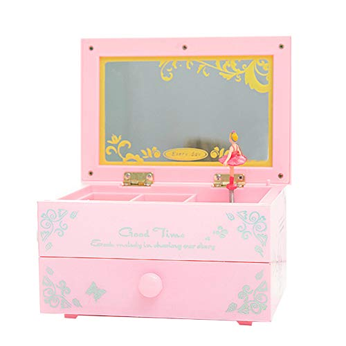 bjduck99 Personalized Engraved Childhood Memories Ballerina Musical Jewelry Box Storage Organizer Birthday Gift Pink