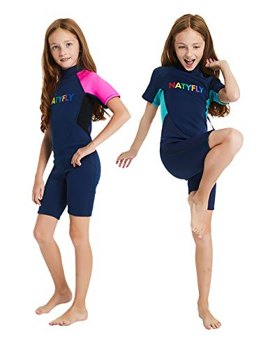 (NATYFLY Kids Wetsuit Premium 2mm Neoprene Short Sleeve Youth Shorty Wetsuit for Girls Boys Child (Blue, Large))