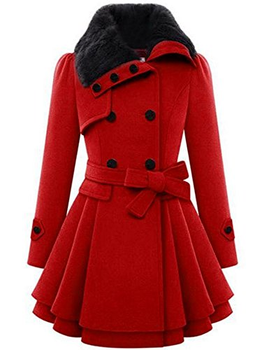 Zeagoo Women Long Sleeve Faux Fur Lapel Double-Breasted Thick Wool Coat,Red,X-Large