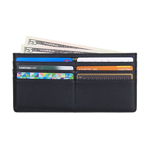 Women's Soft Leather Credit Card Slim Wallet Zipper Pocket Purse for Clutch Bag Black (Slim Zipper)