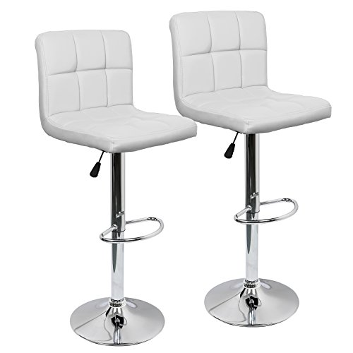 IntimaTe WM Heart Adjustable PU Leather Bar Stools Modern Square Swivel Gas Lift Breakfast Kitchen Chairs Set of 2 (White) (Breakfast Chairs)