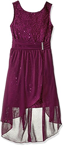 Plum Sleeveless Dress - Amy Byer Girls' Big Sleeveless Sequin Dress with Overlay, Plum, 8