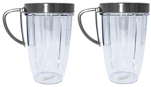Blendin 24 Ounce Large Tall Cup Jar with Handled Lip Rings, Fits Nutribullet NBR-101B Blenders, (2 Pack) by BLENDIN