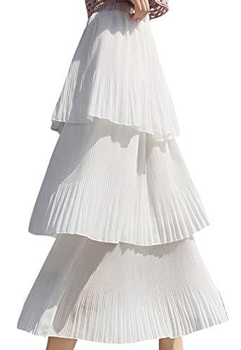 (Flygo Women's High Waisted Chiffon Layered Tiered Pleated Midi Long Skirt (Small, White))