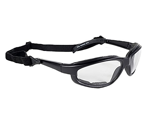 (Kickstart Freedom Motorcycle Biker Padded Glasses Sunglasses Clear Lens w/Strap)