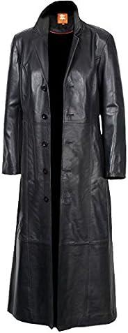 2nd Skin Men's Black Long Coat, Trench Coat Original Lambskin Leather Glossy Finish