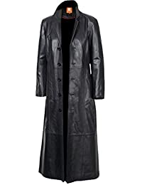 2nd Skin Men's Black Long Coat, Trench Coat Original Lambskin Leather Glossy Finish