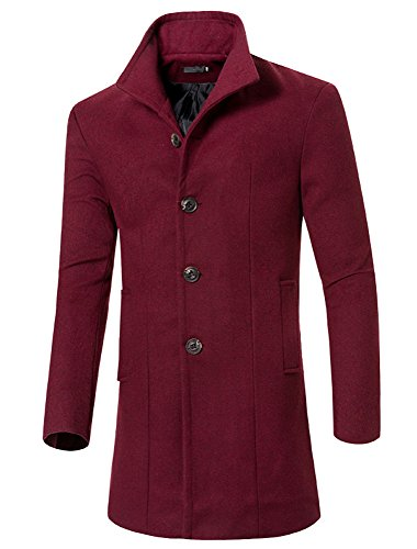 Lanbaosi Men's High Neck Single Breasted Solid Color Trench Coat M:BUST37'' Burgundy