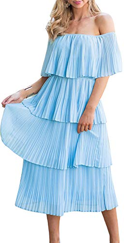 ETCYY Women's Off The Shoulder Summer Chiffon Tiered Ruffle Pleated Casual Midi Dress Blue