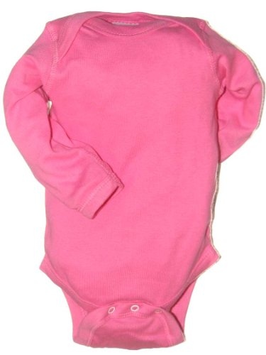 Rabbit Skins Infant Baby Rib Lap Shoulder Long Sleeve Bodysuit (Raspberry) (12)