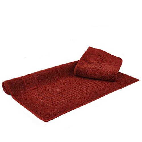 Luxury Hotel & Spa Towel Turkish Cotton Greek Key (Large Bath Mat - Set of 2, Cranberry)