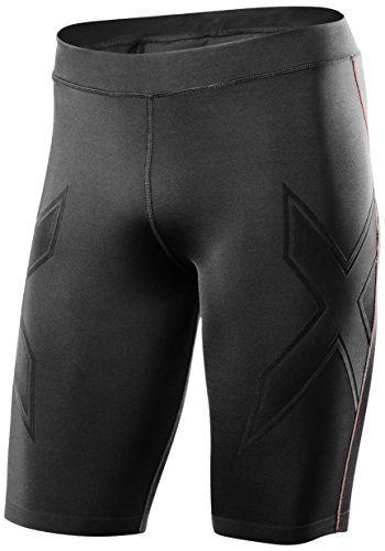 2XU Men's XTRM Compression Shorts, Large, Black/Scarlet by 2XU