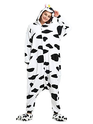 (Unisex Kids Adults Animal Costume Onesie Pajamas Cow Tag 170 - Height:5'6