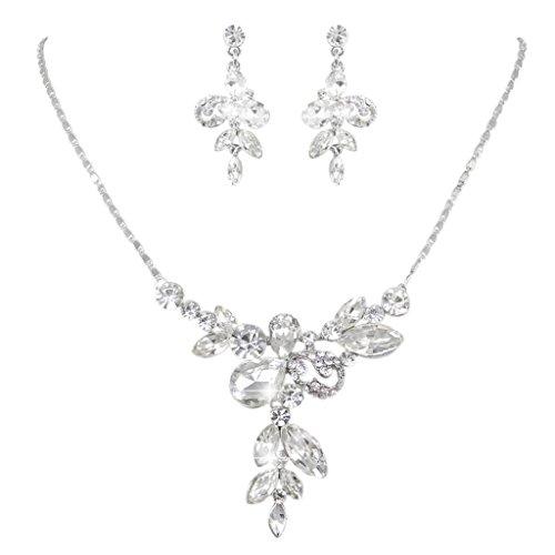 EVER FAITH Bridal Silver-Tone Teardrop Flower Bow Clear Rhinestone Crystal Necklace Earrings - Drop Crystal Clear Necklace