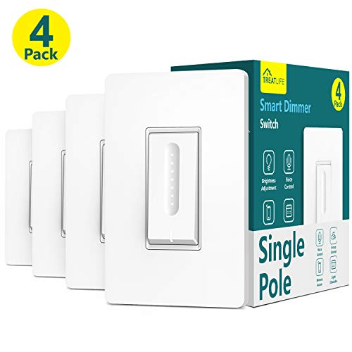 Smart Dimmer Switch,Neutral Wire Required,Treatlife WiFi Light Switch for Dimmable LED, Halogen and Incandescent Bulbs, Compatible with Alexa, Google Assistant, Remote Control, Single-Pole(4 Pack)