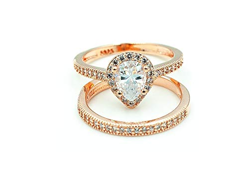 Alex's Wish List Posea Women's Engagement Wedding Bridal Fashion Ring Set Rose Gold Pear Shaped Halo Style 1.5 Carat Cubic Zirconia with Band Size 6,7,8,9 ()