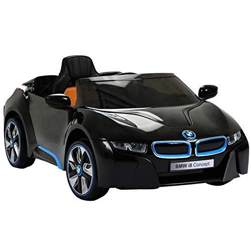 Uenjoy BMW i8 12V Ride on Children's Electric Car Motorized Cars for Kids W/Remote Control, Suspension, Mp3 Player, Compatible with BMW, Black