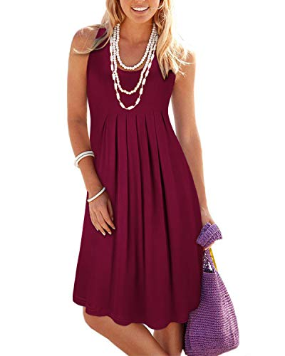 - KILIG Women's Summer Casual Loose Pleated Solid Color Sleeveless Vest Dresses(Wine_2,L)