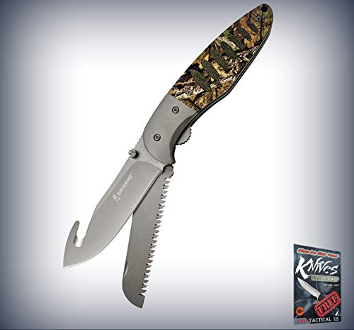 New Browning Hunt N Gut Mossy Oak Camo Handle Linerlock Folding Blades Pro Tactical Elite Knife for Home Camping Hunting Rescue + free Ebook by ProTactical