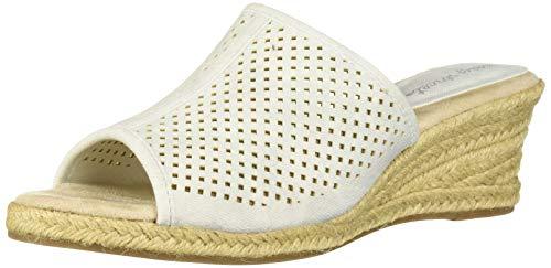(Easy Street Women's Mandy Espadrille Slide Sandal Wedge, White Linen 10 W US)
