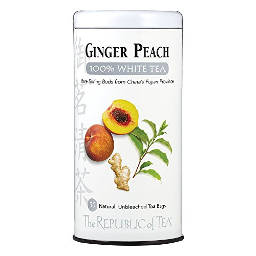 The Republic Of Tea Ginger Peach 100% White Tea, 50 Tea Bags, Fancy Peach and Spicy Ginger Tea