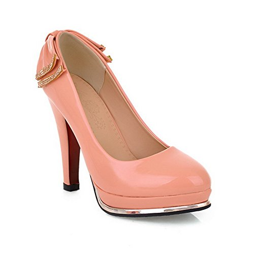 Solid Platform Toe Heels Closed Pumps with Pink Patent Toe Round VogueZone009 High Leather Womens WF7qzcz