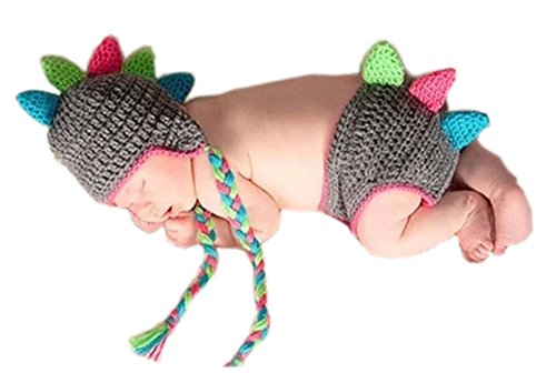 Pinbo Baby Photography Prop Crochet Knitted Animal Dragon Fringe Hat Shorts (Dragon Costumes For Baby)