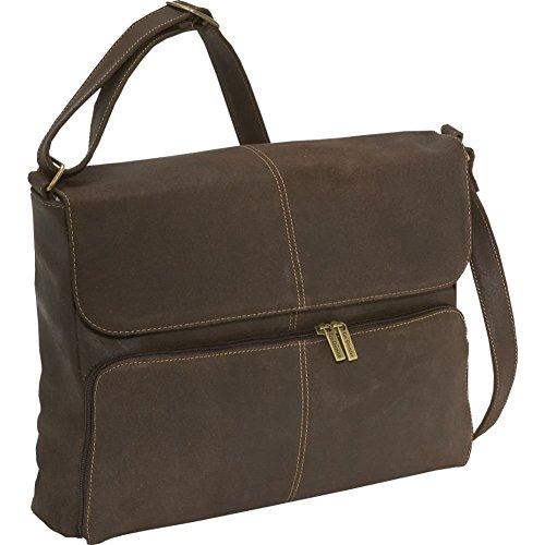 LeDonne Distressed Leather Quarter Flap Messenger Bag, Choc -