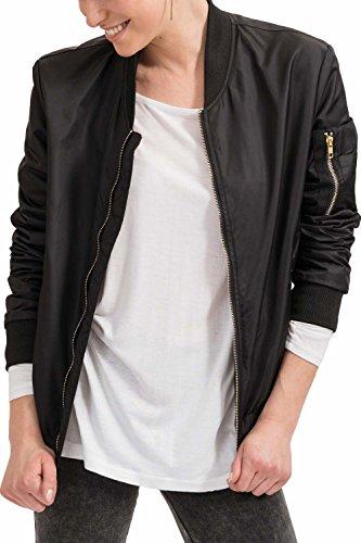Classic Fit Moda Slim Abbigliamento 2999 Militare Trueprodigy Vintage Vestiti Casuale Giacca Urban sportiv amp; Donna Nero Bomber Colore Uni 3573503 qwq1W7Op