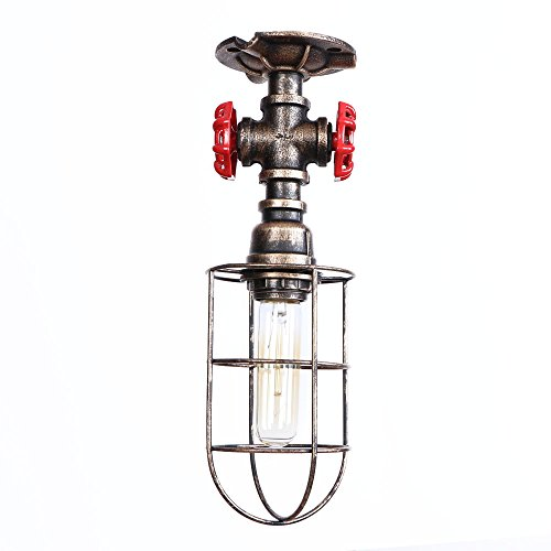 HKYK Industry Retro Ceiling Lamp, Wrought Iron Single Head Flush Mount Suspension Light Water Pipe Hanging Luminaire Foyer Stairway Porch Kitchen Farmhouse E27, Brown