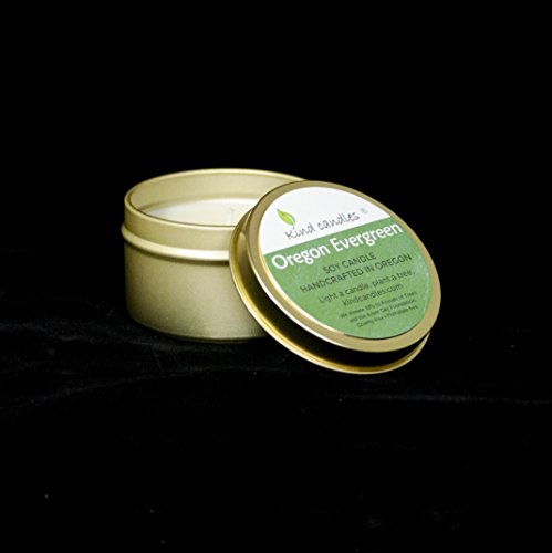 Kind Candles Oregon Evergreen gold tin soy candle Evergreen Soy Candle