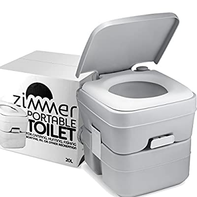 Zimmer Comfort Portable Toilet 5 Gallon Capacity, RV Toilet With Detachable Tanks, Durable Leak Proof Flushable Easy To Use, Compact Porta Potty up to 70 Flushes Perfect for Camping Toilet or Travel