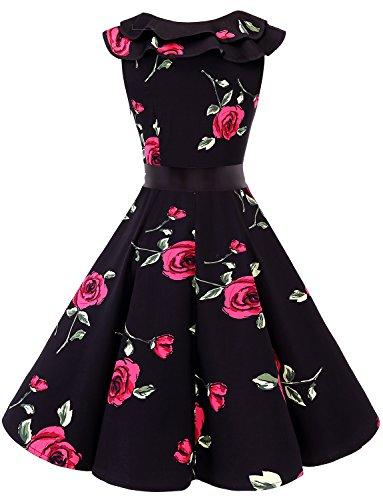 Dress Sleeveless Rockabilly Party Black Flower Red Swing Vintage Collar Women 50s Bridesmay Ruffle Cocktail wqZvZz