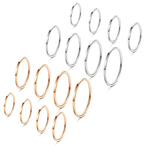 Fiasaso 16 Pcs 1mm Stainless Steel Stacking Rings Knuckle Rings Plain Rings Midi Rings Comfort Fit Size 2 to 9 Silver Tone Rose Gold