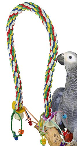 Bonka Bird Toys Large Huge Medium Rope Charm Perch Bird Toy Parrot Cage Toys Cages Amazon Cockatoo caique Macaw (Large Rope Charm Perch)