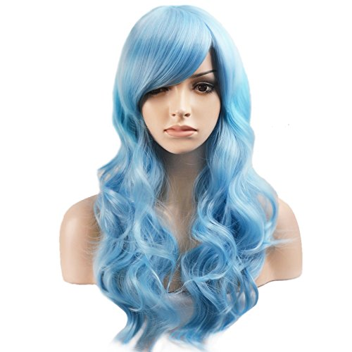 BERON Long Curly Charming Mix Light Blue Color Full Wigs for Cosplay Girls Party Wig Cap Included (Mix Light Blue) ()