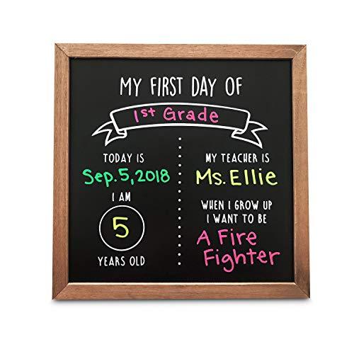 "Olive & Emma First Day of School Reusable Chalkboard Sign | 12"" x 12"" Wood Framed Chalkboard | Back to School Photo Prop Board"