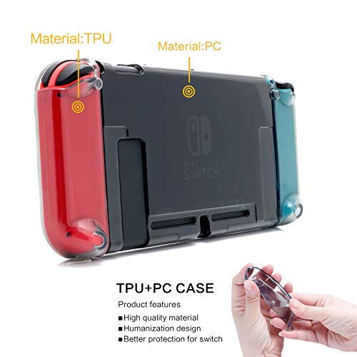 Dockable Case for Nintendo Switch, Protective Cover Case for Nintendo Switch with Soft TPU Grip Case for Joy-Con, Tempered Glass Screen Protector and 6 Thumb Stick Caps - Black