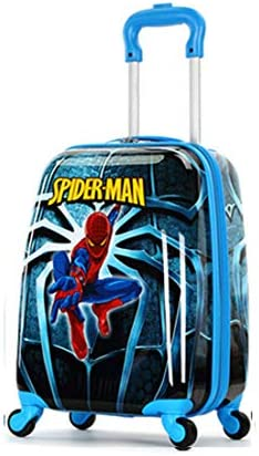 WCK Travel Kid s Luggage 18inch Carry on Hard Side Upright Cartoon Spinner Luggage Rolling blue spiderman
