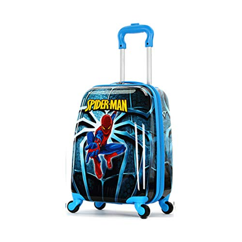 WCK Travel Kid's Luggage 18inch Carry on Hard Side Upright Cartoon Spinner Luggage Rolling (blue spiderman)