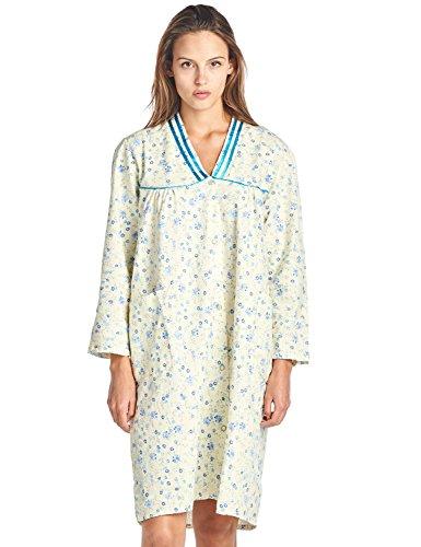 Casual Nights Women's Cotton Flannel 3/4 Sleeve Lounger House Dress - Blue Yellow - (V-neck Muumuu)
