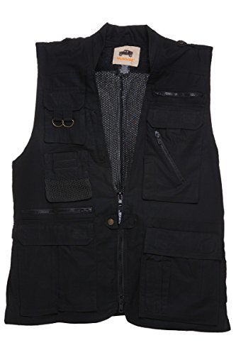 HUMVEE HMV-VS-BK-XXL XX-Large Cotton Safari Vest with Extra Pockets, Black