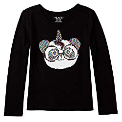Girls Long Sleeve Flip Sequin Top