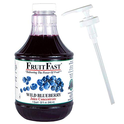 (100% Wild Blueberry Juice Concentrate by FruitFast | ONE Quart 64 Day Supply - Non-GMO and Gluten Free | Includes Juice Bottle Pump)