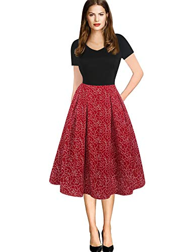 oxiuly Women's Vintage V-Neck Patchwork Casual Pockets Stretchy Work Summer Swing Knee-Length Dress OX295 (XXL, BK-RedWF)
