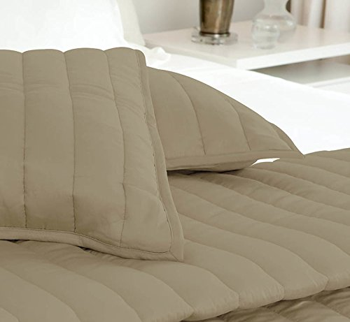 SHEEX ECOSHEEX Coverlet Channel Quilt, Super Soft Fabric to Help Keep You Cool All Through the Night, Taupe (Full/Queen)