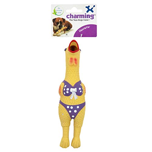 Charming Pet Henrietta Latex Chicken Squeaky Dog Toy, Small