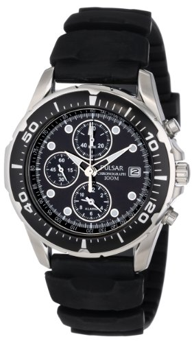 Pulsar Men S Pf3293 Stainless Steel Watch With Black